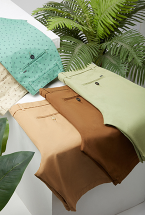 CASUAL PRINTED GREEN COTTON STRETCH COMFORT SHORTS