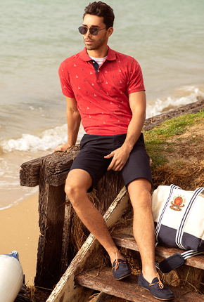 MUSCLE FIT SCOOTER HEATHER PRINTED POLO T SHIRT