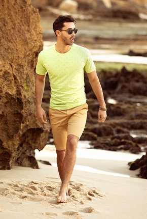 MUSCLE FIT GREEN PRINTED CREW NECK T SHIRT